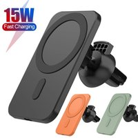 wireless chargers for Apple 12 mobile phone holder 360°rotate 15W fast charging magnetic clip dual-use car Navigation cellphone stand Strong adsorption will not fall