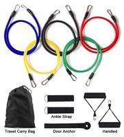 Resistance Bands 11Pcs Set Latex Training Exercise Yoga Tubes Pull Rope Rubber Expander Elastic Fitness Equipment