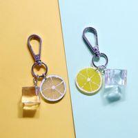 Portachiavi Dutthieux metallo portachiavi auto borsa auto creativo cibo fetta di limone pendente cubo chiave catena chiave per donne in resina regalo