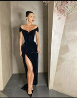 High Quality Black Long Satin Prom Dresses Off Shoulder Leg Slit Formal Event Wear Party Gowns Custom Made Plus Size Available