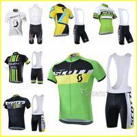 Scott Team Herren Radfahren Kurzarm Jersey BIB Shorts Sets Atmungsaktiv MTB Fahrrad Kleidung Reiten Hemden BIB Shorts Set 417056