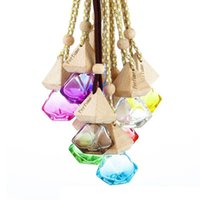 9 Colors Glass Car Perfume Bottle With Wood Beautiful Cap Empty Refillable Bottles Hanging Cute Air Freshener Carrier