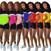 Donne Tracksuits Due pezzi Set Designer Casual Splicing Shorts Manica corta Solid Colour Color Jogger Set Yoga Abiti Plus Size Sportwear