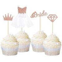 Другие Party Party Party Party 50 шт. / Установить розовое золото невесты, чтобы быть алмазным свадебным платьем кекс торт топперы свадебный душ BachelOrette DIY DEAL