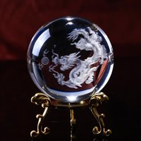 Novelty Items Home Decoration Crystal Ball With Drag 3D Laser Engrave Specimens Creative Feng Shui Glass Globe Wedding Craft Gift