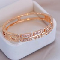 Bangle Classic Women's Bracelets Rose Gold Color Rhinestone Bracelet For Women Elegant Crystal Cuff Bangles Jewelry Gifts
