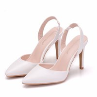 Dress Shoes crystal queen white spring summer women ten bombs in high-flying heels dressed as a wedding party shoes high sexy pointed out RHSH