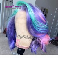 Parrucca corta a tre tonalità wave larghe parrucca sintetica blu viola rosa capelli sirena parrucca pastello color capelli parrucche di pizzo parrucche in pizzo