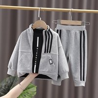 Clothing Sets Autumn Winter Baby Clothes Fashion Toddler Boy Striped Cotton 3pcs Suits Infant Kids Jacket+Letter T-shirt+Pants