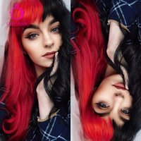 Synthetic Wigs OLEY Hair Arrivial Half Black Red Wig None Lace Green Gray Cosplay With Bnags For Women