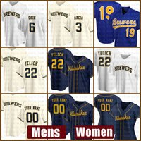Milwaukee мужские пивовары Женщины бейсбол Джерси 22 Christian Yelich Custom 19 Robin Yount 6 Lorenzo Cain 8 Ryan Braun 18 Keston Huura