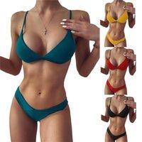 Women's Swimwear Women Fashion 2-piece Swimming Suit Sleeveless Solid Color Tops+Bottoms Bikini Set For Ladies