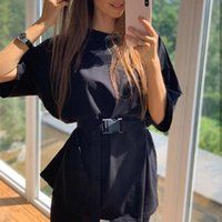 Women's Tracksuits Summer Streetwear Lady Solid Oversized Two Pieces Set Half Sleeve T-shirt With Belt Female Biker Shorts Suits