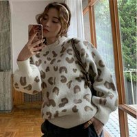 Qooth Women Leopard Knitted Sweater Winter Animal Print Thick Long Sleeve Female Pullovers Casual Loose Jumpers QH2159 210609