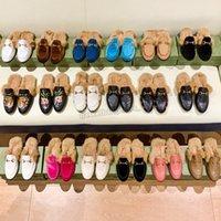 Kış Lüks Tasarımcı Kadın Erkekler Için Terlik Düz Loafer'lar Kürk Muller Ayakkabı Çiçek Yılan Katır Moda Açık Bayanlar Sandalet Boyutu 34-44 Kutusu Ile