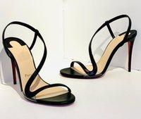 Kadınlar Seksi Sandalet Yaz Yüksek Topuklu Kırmızı Alt Sandal Strass Ve Deri Rosalie Yanardöner Deriler Slingback Sandalies Açık Toe Black