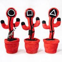 35cm Party Gunst Tintenfischspiel Tanzen Singing Cactus USB-Aufladung Unterhaltung Plüsch Puppe Arbeitszimmer Weiche Verzierungen Kinder Kinder Halloween Weihnachtsgeschenke W013