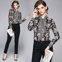 Luxury Quality Floral Print Bow Tie Neck Shirts Womens Casual Office Elegant Runway 2019 New Ladies Button Long Sleeve Designer Blouses Tops