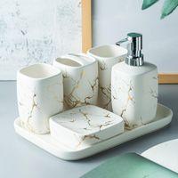 Mármore Fosco Gelado Cerâmica Banheiro Acessórios Conjunto Distribuidor de sabão / Toothbrush Titular / Tumbler / Soap prato Bandeja Banheiro Suprimentos