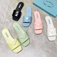 Kvinna Designers Topp Sandaler Öppna Edge Pärlor Äkta Läder Tofflor Kvinnor Flat Slides Cowhide Women Sandal Storlek 35-41