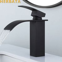 Black Plated Brass Waterfall Bathroom Basin Faucet Square Vanity Sink Mixer Hot & Cold Lavotory Tap Single Handle YT-5023-H