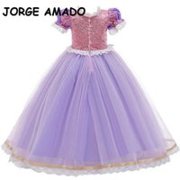 Wholesale Spring Girl Halloween Cosplay Dress Short Sleeve Cartoon Princess Party Perform Kids Clothing E2615 210610