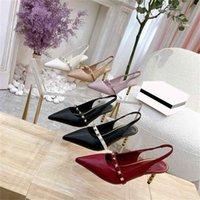 2021 top designer luxus frauen high heels sandalen sommer mode damen stiletto heel rivet gleitet pantoffel frau dress office party sandal