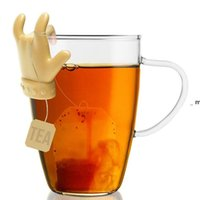 Saco de chá Prateleira Bonito Forma de Dedo Silicone Copa Caneca Suporte de Colher Saco de Chá Clip Costas Cores Bons Teas Teas Infuser OWE8851
