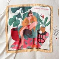 Scarves 2021 Summer Samel Neck Kerchief Hair Head Band Silk Scarf Women Girls Hand Bag Wrist Towel Design Foulard Shawl Ladies Bandana