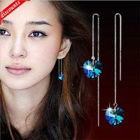 Корейский женский стиль длинные серебряные украшения океана сердце серьги с кисточкой синяя кристаллическая линия ушная оптовая торговля NN040