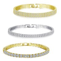 Fashion Cubic Zirconia Tennis Bracelets Bangle Gold Silver Color Charm Bracelet For Women Bridal Wedding Party Jewelry