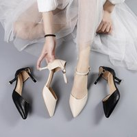 Dress Shoes Women Stilettos Pointed Office Ladies Sexy Black Strappy High Heels
