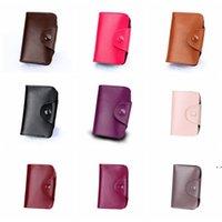 Unisex Kleine Lederkartenhalter mit Knopf Slim Wallet Visitenkarten Fall Orgel Kartenhalter Aufbewahrungsbeutel 15 Slots 12 Slots OWF6332
