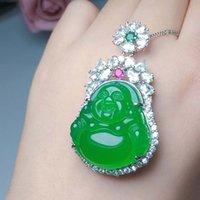 925 argento lnlaid naturale ghiaccio verde chalcedony buddha pendente squisito collana gioielli regalo di natale per signore