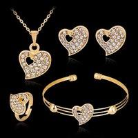 Modeschmuck Luxus Gold-Farbe Romantische österreichische Kristall Herz Form Kette Halskette Ohrringe Armband Ring Sets