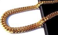 Cadenas Hombres pesados 24K Real Solid Solid Oro Acabado Grueso Miami Cubano Link Collar Cadena 25J7D YKSUZ