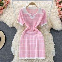 Casual Dresses Sweet Summer Fashion Short Sleeve Sheath Bodycon Mini Women Plaid Knitted Sweater Robe Femme Vestidos GPCJ