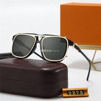 2021 디자이너 클래식 라운드 럭셔리 선글라스 브랜드 디자인 UV400 안경 금속 골드 프레임 남성 여성 미러 유리 렌즈 2275 태양 안경 상자