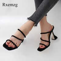 Slippers Rxemzg Narrow Band Women Summer Strange Style Heels Open Toe Casual Sandals High Mules Outdoor Ladies
