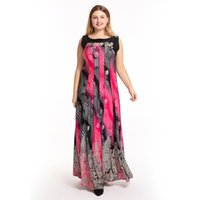 S-5XL Women's Plus Size Dress Crew Neck Sleeveless Summer New Printing Wear Patchwork Loose Holiday Vestidos