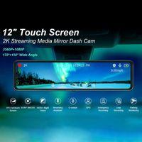 Inch Car DVR 2K Stream Media Dash Cam Contact Screen Camera Dual Lens Rearview Mirror Driving Recorder DVRs