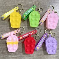 50%off Mini Bubbles ICE Cream Keychain Popper Bag Sensory Rubber Silicone Purses Cute Shape Key Ring Fidget Push Pop Bubble Puzzle Cases Wallet Coin Bags gift E105 item
