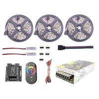 Bright 10M 15M 60L / M LED RGB Lâmpada de Luz de Luz de Luz DC 12V + em Desligado Interruptor 12 V Fonte de Alimentação CA Strips