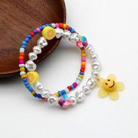 Charm Armbänder Niedlichen Armband für Frauen Acryl Unregelmäßige Perlen Lächeln Sonnenblume Bunte Herz Zitrone Glas Samen Perlen 202185