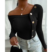 Women's Sweaters Black Patchwork Knitted For Women 2021 Threads Off Shoulder Pullover Jumper White Casual Winter Clothes