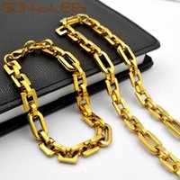 Earrings & Necklace SUNNERLEES Stainless Steel Bracelet Set 8mm Geometric Link Chain Smooth Silver Color Gold Plated Men Women SC204 S