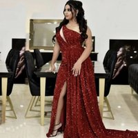 2021 Arabic Sexy Red Mermaid Prom Dresses One Shoulder Sequines lace Side Split Sweep Train Aso Ebi Evening Gowns Vestido