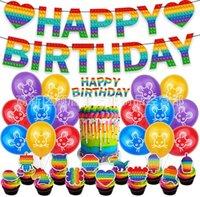 3D Poppet Fidget Push Pops Pops Jouet Imprimer Joyeux anniversaire Papier Drapeau String Ballons Enfants Enfants Enfants Annonce Partie de fête Ensemble Cartoon Vaisselle Vaisselle Costume Décoration G90QB7X