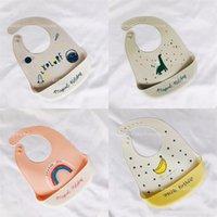 Silicona impermeable baberos de dibujos animados arco iris plátano impresión Burp Paños Bebé niños alimentación accesorios limpiar niños babero encantador 7 7DX N2