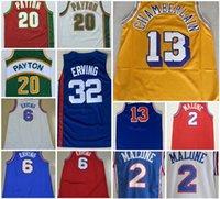 En Kaliteli 2 Musa Malone 6 Julius Erving Jersey Mavi Kırmızı Beyaz 20 Payton 13 Wilt Chamberlain Dikişli Basketbol Formaları